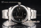 1:1 Rolex Oyster Perpetual Air King 114300-0003 Clone Rolex 3132 Automatic Steel Dark Rhodium Dial (JF)