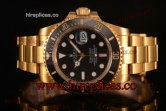 Rolex Submariner Miyota 9015 Automatic 116618 bk Yellow Gold Black Dial